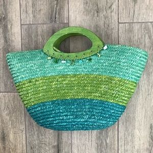 Handbags - Blue and Green Straw Tote